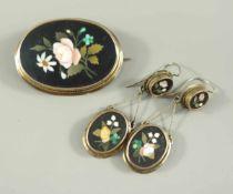 Paar Ohrringe und Brosche, Pietra Dura, Florenz, 585er Gold, um 1900, Gew.15,93g, polychrome