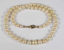 Perlenkette mit 333er Gelbgold-Verschluss, 55 Perlen, Einzelverknotung, im Verlauf, L.40cm