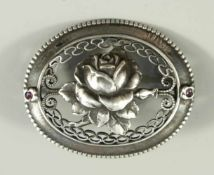 Brosche mit Rosenblüte, 800er Silber, Silberschmiedearbeit, ungedeutete Meisterpunze,