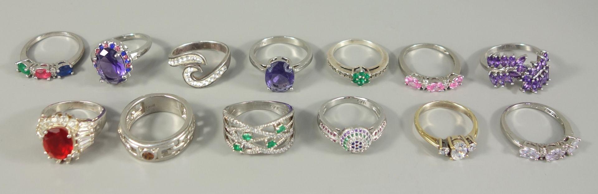 13 Ringe mit Steinbesatz, 925er Silber, Gew.52,93g, 1* dabei Silber/vergoldet; unterschiedliche,