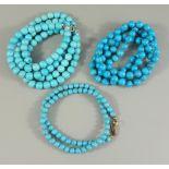 3 Türkiskugelketten, Gesamt-Gew.142,54g, unterschiedliche Blautöne und Durchmesser, von ca.5mm bis