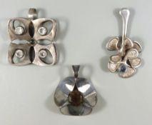 3 silberne Anhänger, Skandinavien, 925er Silber, Gesamt-Gew.21,05g, unterschiedlicher Steinbesatz,