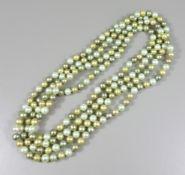 Multicolor-Tahiti-Zuchtperlenkette, D.ca.6mm, L.150cm, ca.224 Perlen, Einzelverknotung, feine