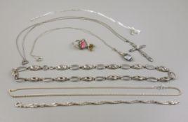 Konvolut Silberschmuck, 45,36g und 1 Paar Ohrstecker, 1,07g, 333er Gold, Silber