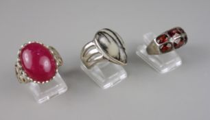 3 Ringe, 925er Silber mit Jaspis, Jade und Mosambik-Granat, Gesamt-Gew.20,11g,