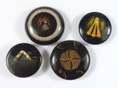 4 große Zierknöpfe, Art Déco, Kunststoff mit goldener und silberner Einlage, D.