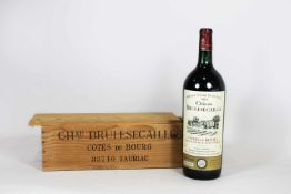 Flasche Rotwein in Holzkiste, Chau Brulesecailles Cotes de Bourg 33710 Tauriac, 1989.