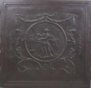 Stahlplatte mit der Darstellung des Apollon mit Lyra, zentral kreisförmig umrandet, umgeben von