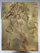 Bronzerelief, Frauenakt, sign.: Cascio, 5/300, Maße: 12,5 x 9,5 cm, auf PLexiglas montiert 17 x 14