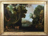 Paul Bril (flämisch, 1554 - 1626), Waldlandschaft mit Faunen, Öl a. Lwd, Maße: 102 x 143 cm, gerahmt: 123 x 165 cm. Doubliert. Vermutlich handelt es sich um eine weitere Version des Originalbildes, das in der City Art Gallery in Bradford ausgestellt wird. Es ist vergleichbar mit der Version des Bildes, das am 21.10.2014 in Dorotheum verkauft wurde. Frau Prof. Cappelletti der Univ. Ferrara hat ein Foto des Gemäldes vorgelegen. Sie wird eine Einlassung / Expertise zum Gemälde fertigen. | Auk...
