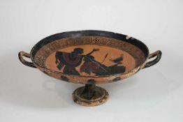 Etruskische Platte auf hohem Fuß, Ende 5. Jh. v. Chr.,schwarzfigurige Malerei im