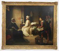 Achille Leonardi (italienisch, 1800 - 1870), Guido Reni zeichnet Beatrice Cenci im Kerker, unten links sign: A. Leonardi 4. Fontane 17 Roma, Maße: 103 x 123,5 cm, gerahmt: 122 x 142 cm, doubliert.   Auktionshaus Demessieur