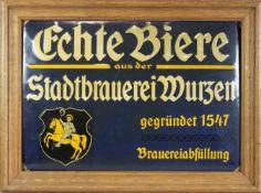Emailschild, Echte Biere aus der Stadtbrauerei Wurzen / gegründet 1547 / Brauereiabfüllung, Größe: