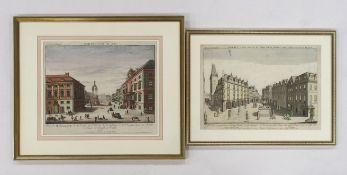 Zwei Guckkastenblätter mit Wien- und Prag-Ansichten