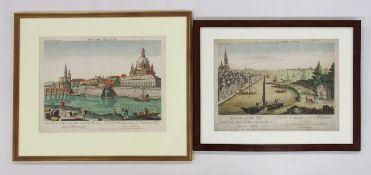 Zwei Guckkastenblätter mit Dresden- und Hamburg-Ansichten