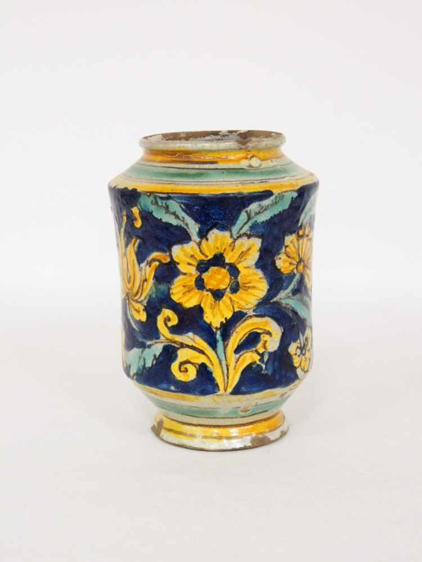 ApothekengefäßFayence, kobaldblauer Grund, Rankenwerk, Blumen, Caltagirone 18. Jahrhundert, Höhe