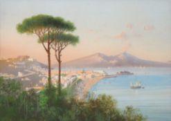 ITALIENISCHER MEISTERum 1900Golf von SorrentGouache auf Papier, 15 x 21,5 cm, gerahmt unter Glas und
