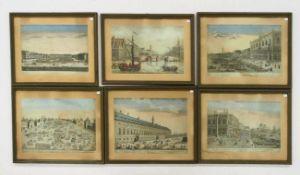 """Sechs Guckkastenblätter 18. Jahrhundert """"Ansichten aus Wien, Venedig, Peking etc.""""Kupferstiche,"""