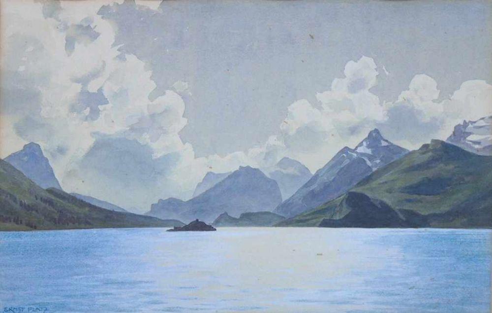 PLATZ, Ernst Heinrich1867-1940Gebirgssee mit InselAquarell auf Papier, signiert unten links, 27 x 41 cm, gerahmt unter Glas und Passepartout