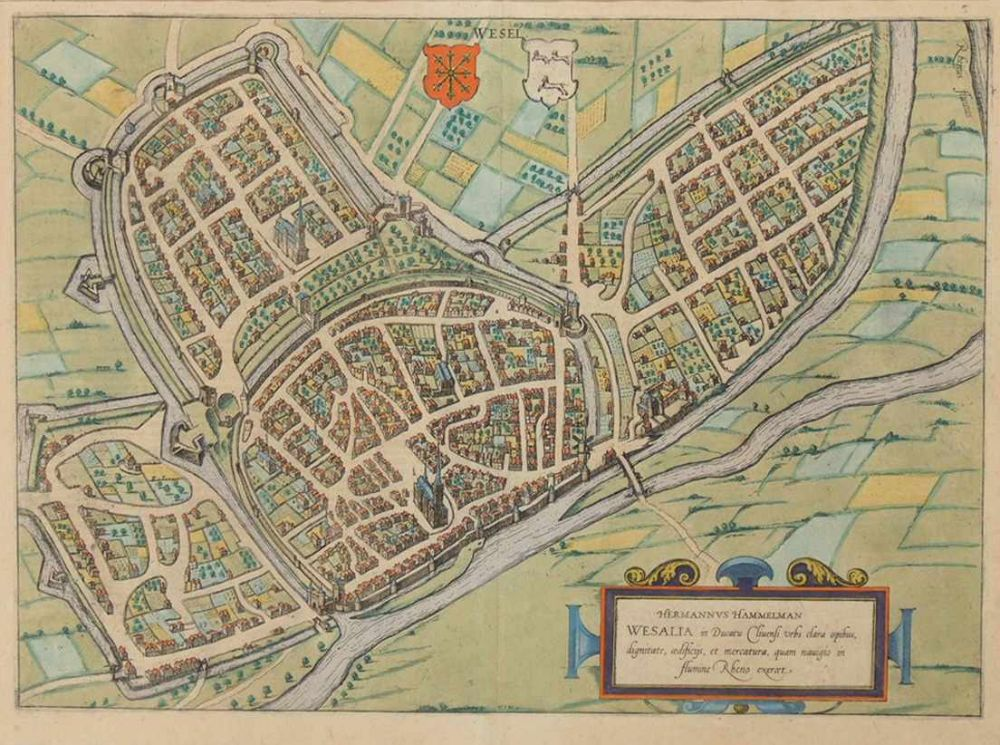 HAMMELMAN, Hermanus1525-1595Wesalia in Ducatu Cliuensi Urbs....Kupferstich, altkoloriert, aus: Braun/Hogenberg, Civitates orbis terrarum, um 1572, 41 x 54 cm (gebräunt, minimale Randbeschädigungen)