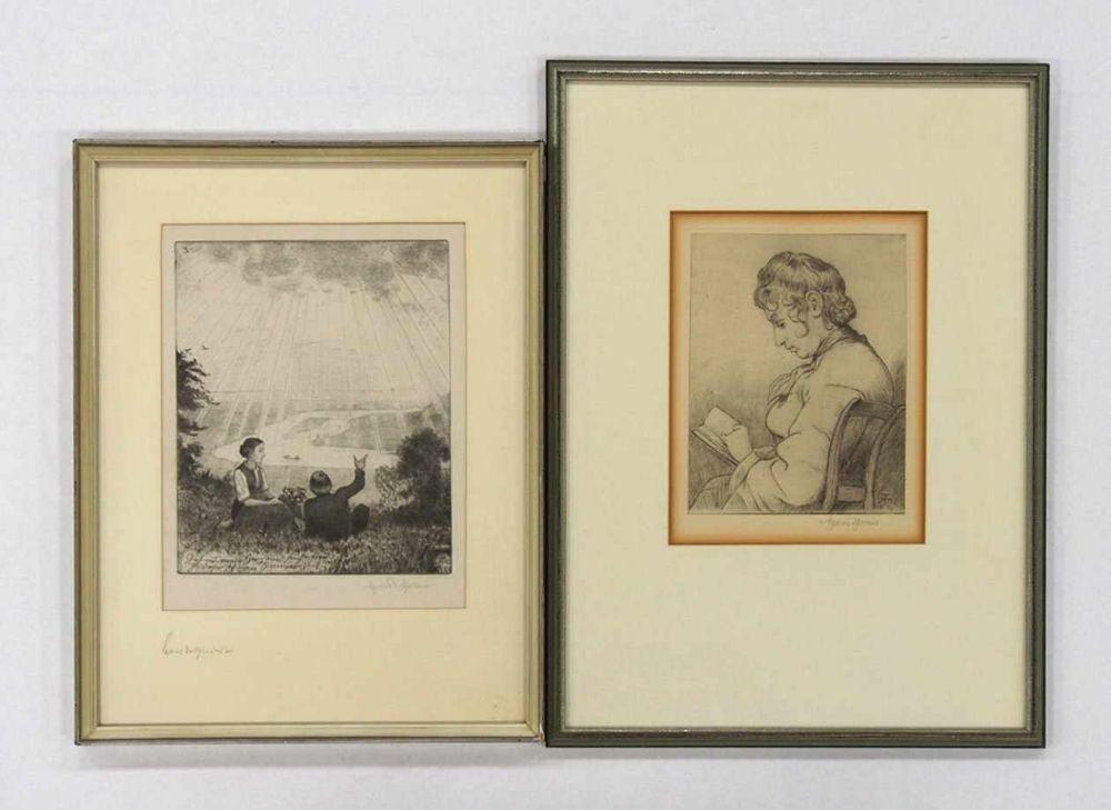 THOMA, Hans1839-1924Lesendes Mädchen I / Geh aus mein Herz…Radierung 1910 /1916, signiert unten rechts, 25 x 19 cm beziehungsweise 29 x 22 cm, gerahmt unter Glas und Passepartout