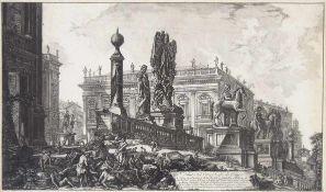 PIRANESI, GiovannI Baptista1720-1778Veduta del Campidoglio di FiancoRadierung, 42 x 70 cm, gerahmt