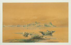 SPANISCHER MEISTER1. Hälfte 20. Jh.Fischerboot in einem HafenAquarell, Gouache auf Papier,