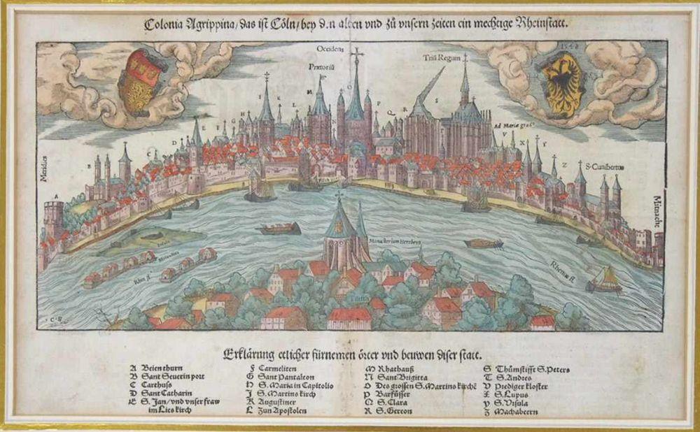 Colonia Agrippina / das ist Cöln…Holzschnitt, altkoloriert aus: Sebastian Münster, Cosmographia, 23 x 39 cm, gerahmt unter Glas und Passepartout