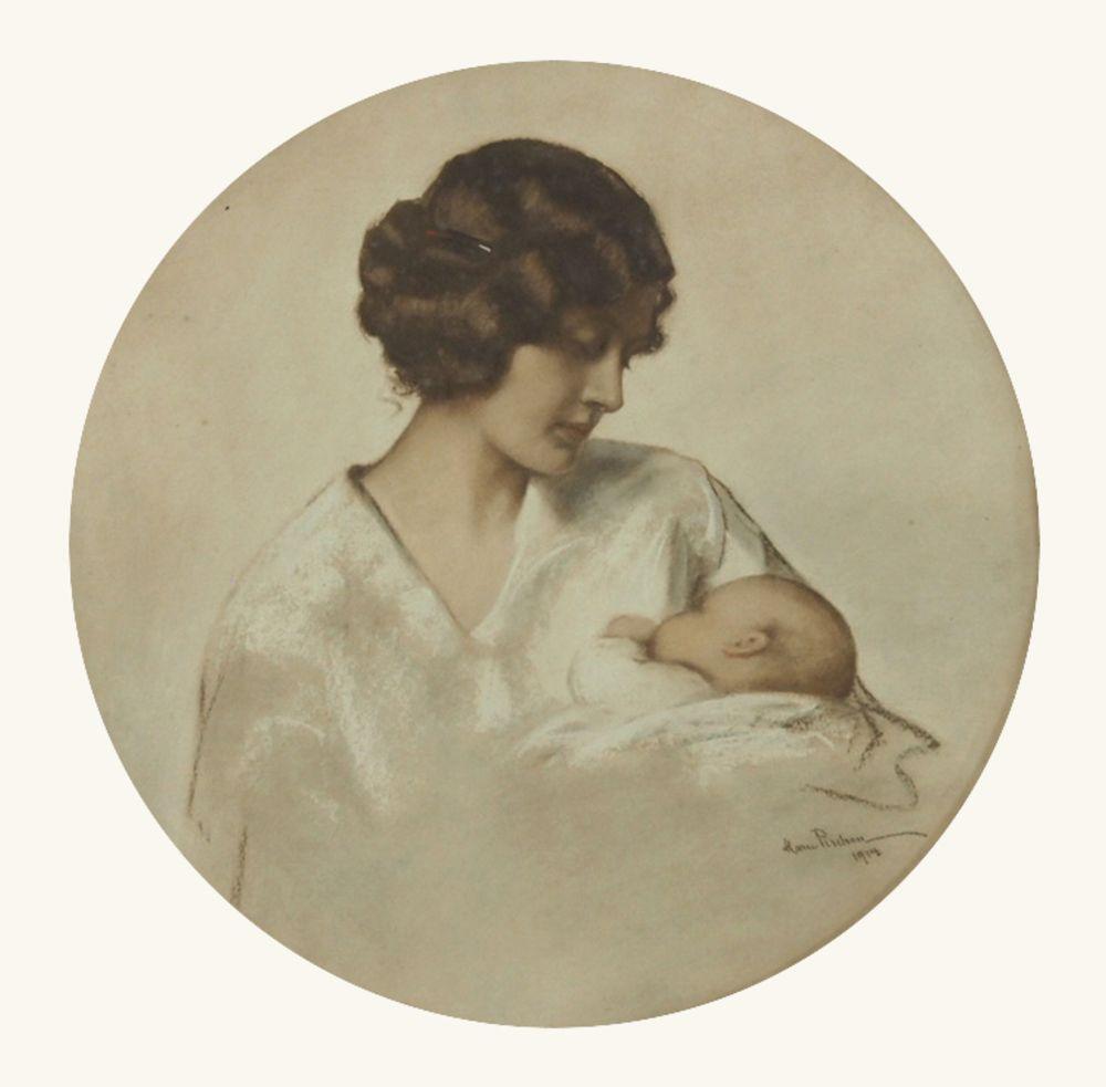 PISCHON, Marie1856-1928Mutter mit KindFarbkreiden, Deckweiß auf Papier, signiert und datiert 1914 unten rechts, Durchmesser 43 cm, gerahmt unter Glas