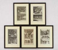 """Fünf Blatt """"Brasserie""""5 Kupferstiche aus: Diderot /D'Alembert, Encyclopedie..., 1751, 34,5 x 21"""