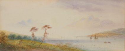 LEAR, Edward1812-1888Flusslandschaftzugeschrieben, Aquarell auf Papier, 18 x 42 cm, gerahmt unter