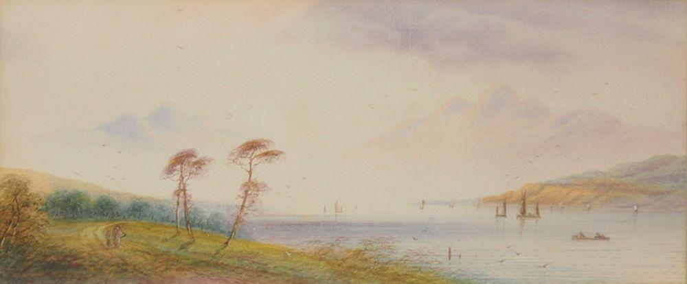 LEAR, Edward1812-1888Flusslandschaftzugeschrieben, Aquarell auf Papier, 18 x 42 cm, gerahmt unter Glas und Passepartout
