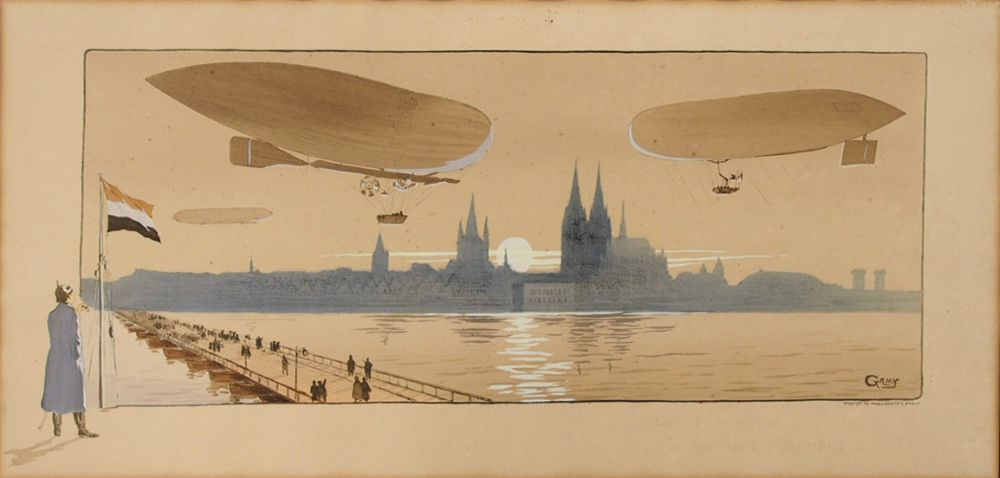 GAMY, Marguerite1878-1936Das Luftschiff Parzival über der Silhouette von KölnFarblithographie, 1909, 42 x 88 cm, Passepartout