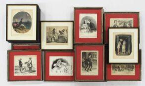 DAUMIER, Honoré1808-187925 Blatt KarikaturenLithographie, ca. 29 x 20 cm, gerahmt unter Glas und
