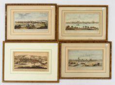 Vier Kupferstiche 19. JahrhundertAnsichten von Worms, Trier, Valencin, Audenarde, bis zu 17 x 29 cm,