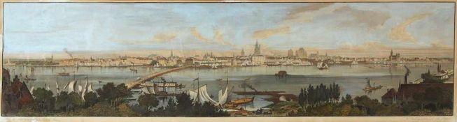 POPPEL, JohannLANGE, LudwigPanorama de CologneStahlstich, handkoloriert, 25 x 96 cm, gerahmt unter