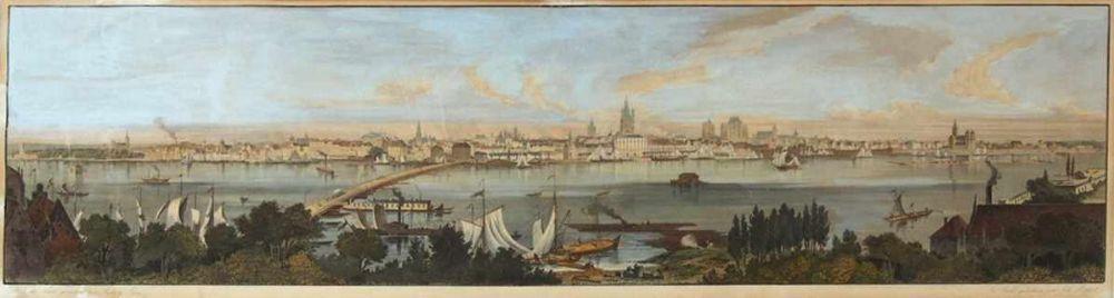 POPPEL, JohannLANGE, LudwigPanorama de CologneStahlstich, handkoloriert, 25 x 96 cm, gerahmt unter Glas und Passepartout (restaurierte Einrisse)