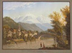 Vue du Montblanc prise de St. MartinAquatinta, handgouachiert von J.P. Lory, Bern, um 1824, 29 x