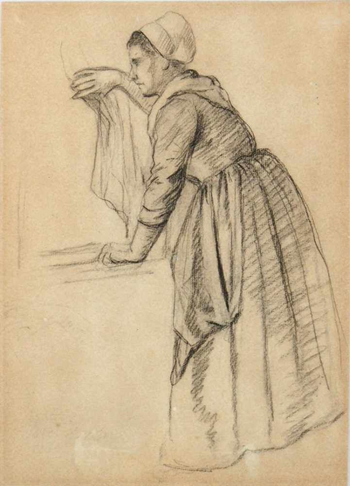 ISRAELS, Jozef1824-1911Bäuerin am FensterKohle auf Papier, signiert unten links (schwach sichtbar), 28,5 x 21 cm