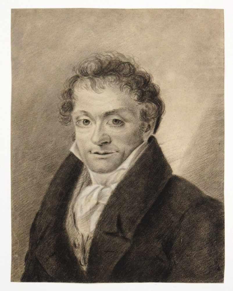 DEUTSCHER MEISTERum 1800Porträt eines MannesKreide, Deckweiß auf Papier, 28,5 x 22 cm (montiert im Passepartout)