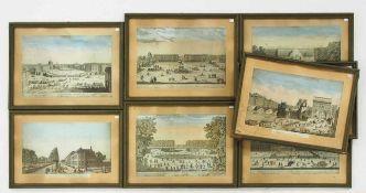 """Acht Guckkastenblätter 18. Jahrhundert """"Paläste und Städte in Frankreich""""Kupferstiche, koloriert,"""