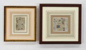 Zwei StundenbuchblätterHandschriften und Initialen mit Tempera und Gold, Rubren, Frankreich 15.