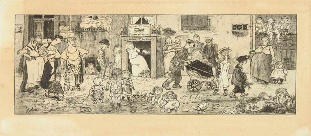 ZILLE, Heinrich1858-1929Zur Mutter ErdeHeliogravur, in der Platte sig., 30,5 x 59 cm, gerahmt unter Glas (im Plattenbereich stärker gebräunt)