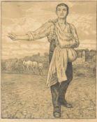 THOMA, Hans1839-1924SämannAlgraphie, 1901, signiert unten rechts, datiert 1909, 44 x 32 cm,