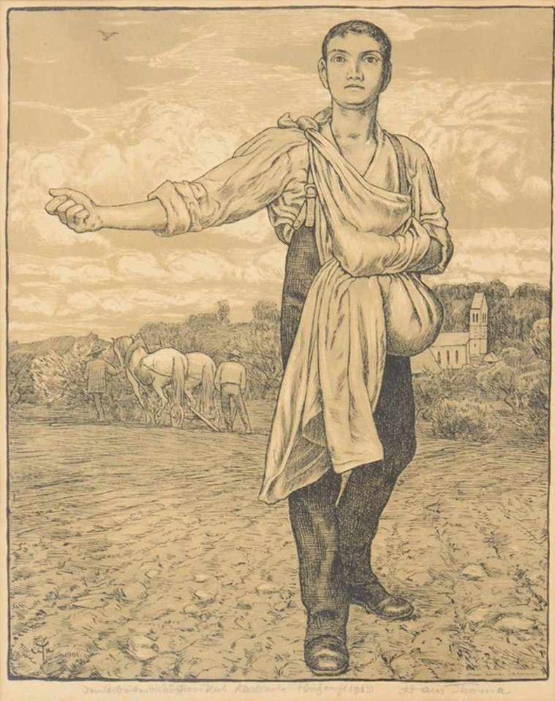 THOMA, Hans1839-1924SämannAlgraphie, 1901, signiert unten rechts, datiert 1909, 44 x 32 cm, gerahmt unter Glas und Passepartout