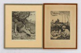THOMA, Hans1839-1924Schlafender Hirte / Idyl IIRadierungen, signiert unten rechts, 28 x 22 cm
