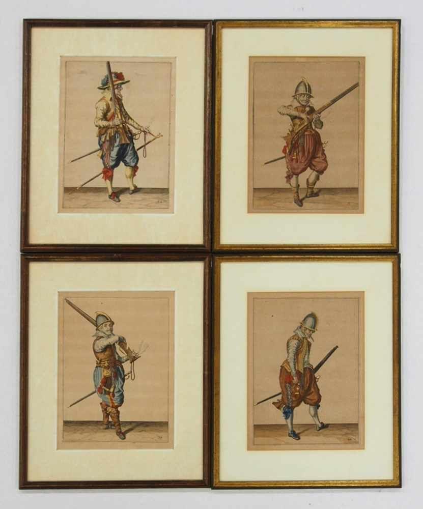 GHEYN, Jacob de1565-16294 Landsknechteaus: Wappenhandelinghe van Roers ..., Den Haag 1608, Kupferstiche, koloriert, vergoldet, 20 x 20 cm, gerahmt unter Glas und Passepartout