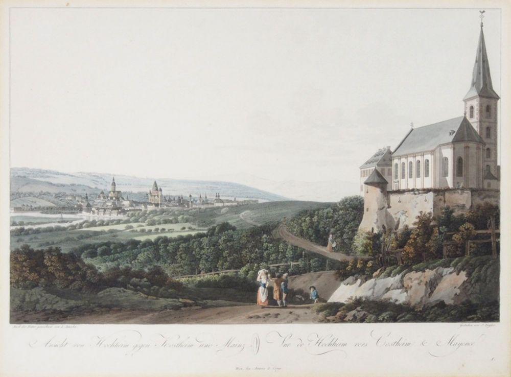 ZIEGLER, Johann1749-1822Ansicht von Hochheim gegen Kostheim und MainzRadierung, koloriert, 35 x 47 cm, gerahmt unter Glas und Passepartout