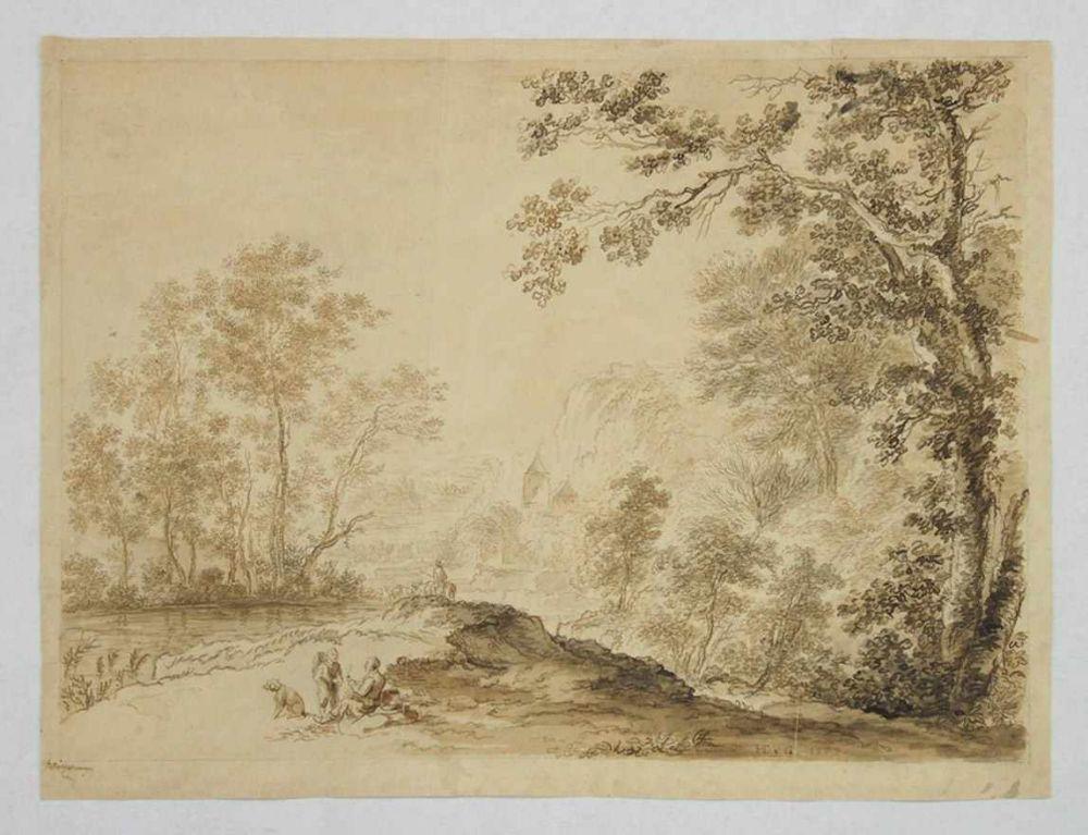 DEUTSCHER MEISTER18. Jh.Italienische LandschaftFeder, laviert auf Papier, monogrammiert HTvG, datiert 1726 unten rechts, 34 x 45,5 cm (2 Knickfalten, kleiner Randeinriss)
