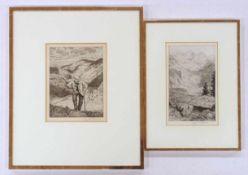 THOMA, Hans1839-19242 Radierungensigniert unten rechts, bis zu 30 x 23 cm, gerahmt unter Glas und